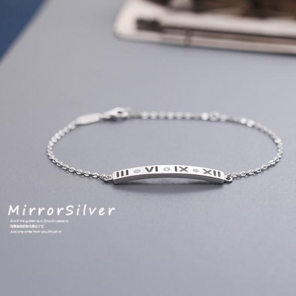 Romantic Roman Numerals S925 Sterling Silver Bracelet