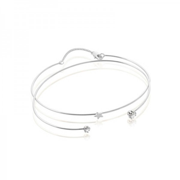 S925 Sterling Silver Inlaid Cubic Zirconia Women Opening Bracelet