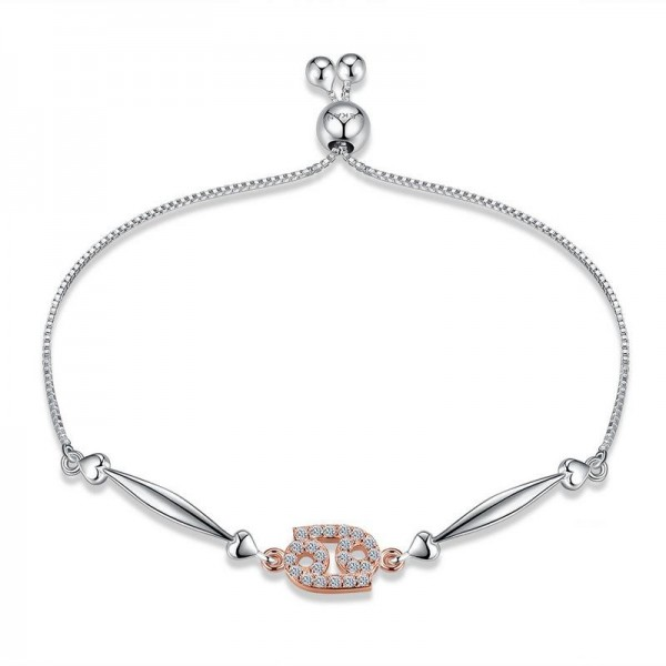 Hot Selling Twelve Constellation Cancer Style S925 Sterling Silver Inlaid Cubic Zirconia Bracelet