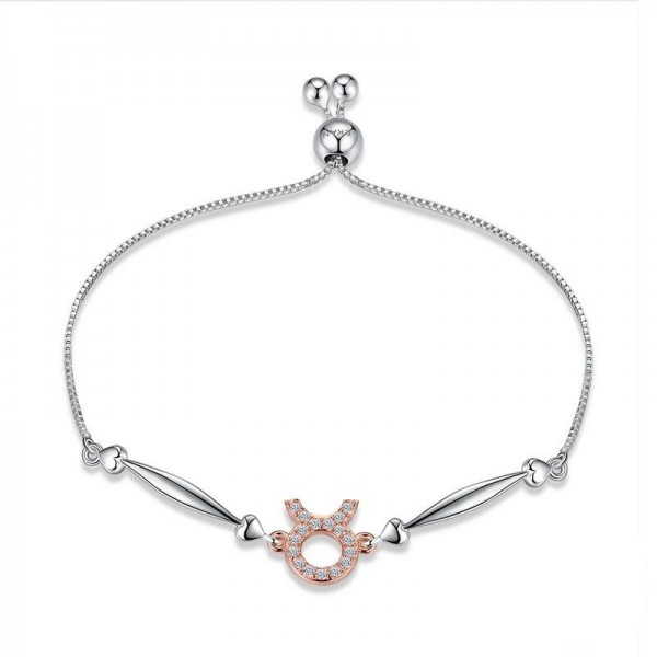Hot Selling Twelve Constellation Taurus Style S925 Sterling Silver Inlaid Cubic Zirconia Bracelet