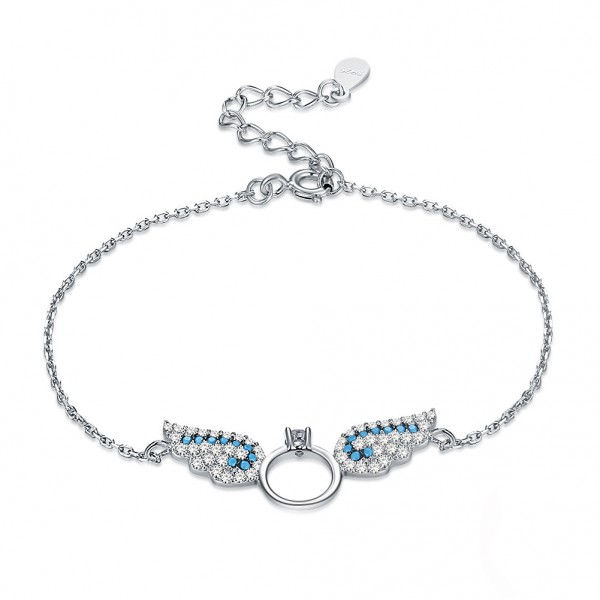 Original Design Elegant Angel's Wings S925 Sterling Silver Inlaid Cubic Zirconia Bracelet