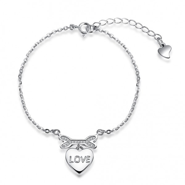 Hot Selling True Love S925 Sterling Silver Inlaid Cubic Zirconia Bracelet