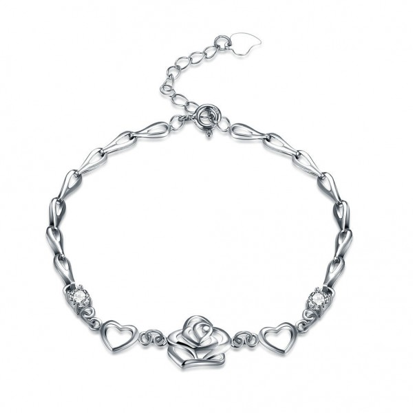 Romantic Hollow Heart-Shaped S925 Sterling Silver Inlaid Cubic Zirconia Bracelet