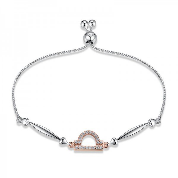 Hot Selling Twelve Constellation Libra Style S925 Sterling Silver Inlaid Cubic Zirconia Bracelet