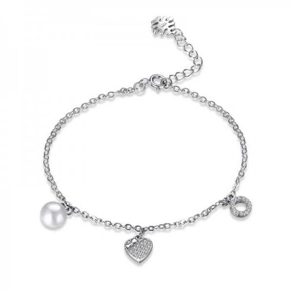True Love S925 Sterling Silver Inlaid Cubic Zirconia Bracelet with Pearl