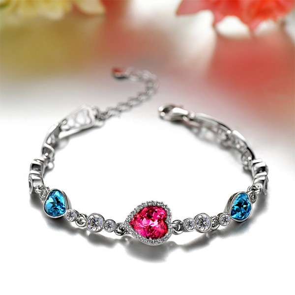 S925 Sterling Silver Inlaid Cubic Zirconia Crystal Bracelet