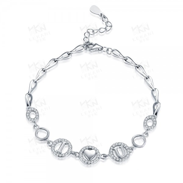 """I Love You"" Romantic S925 Sterling Silver Inlaid Cubic Zirconia Bracelet"