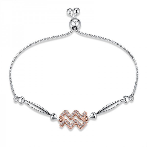 Hot Selling Twelve Constellation Aquarius Style S925 Sterling Silver Inlaid Cubic Zirconia Bracelet