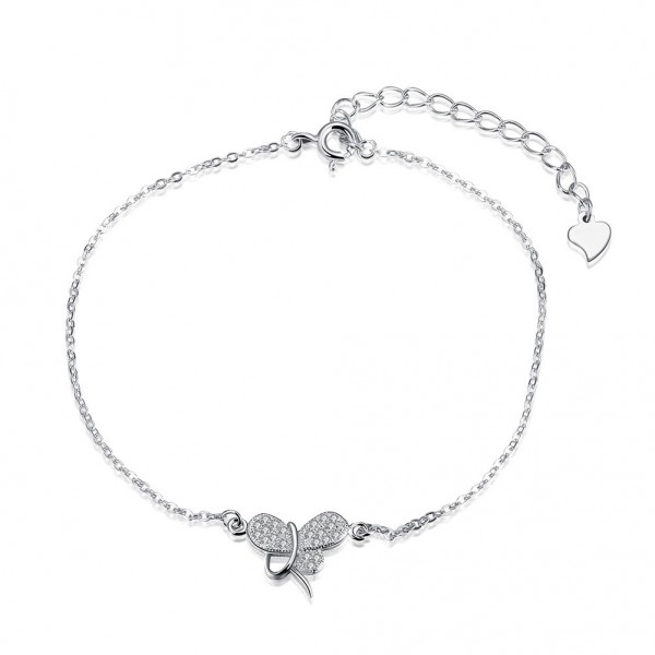 Popular Butterfly Design S925 Sterling Silver Inlaid Cubic Zirconia Bracelet