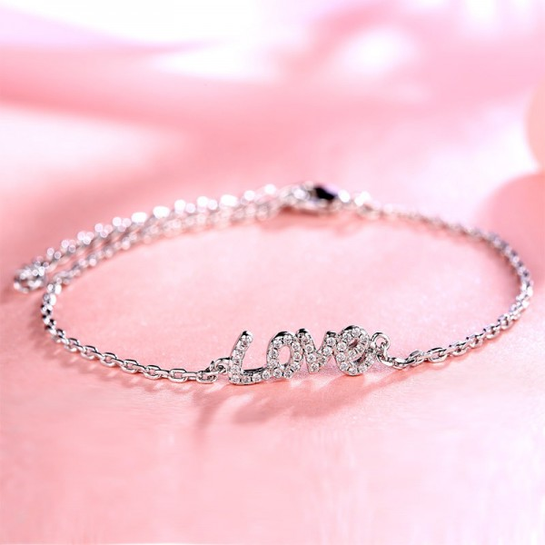 "Charming ""Love"" S925 Sterling Silver Inlaid Cubic Zirconia Bracelet"