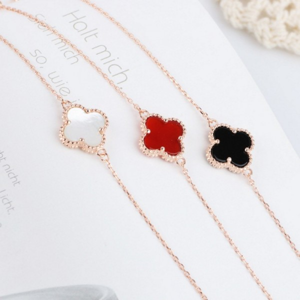 Sweet Love Four-leaf Clover Shaped S925 Sterling Silver Carnelian Three-Color Bracelet