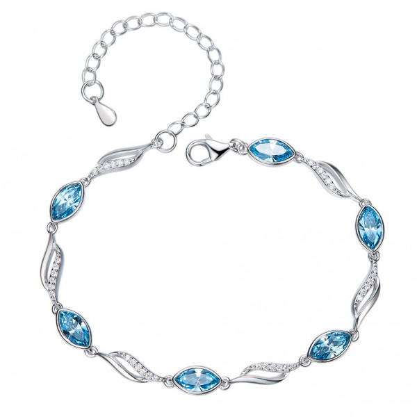 New Arrivals S925 Sterling Silver Inlaid Crystal Bracelet