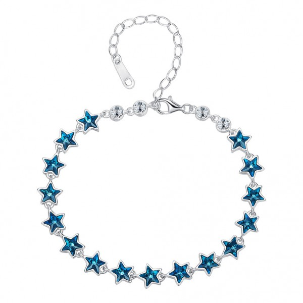 Popular Bright Stars S925 Sterling Silver Inlaid Crystal Bracelet