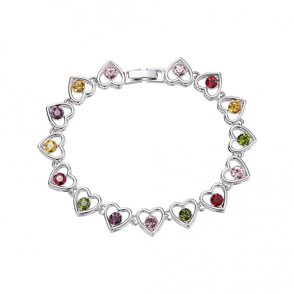 Original Design Heart-Shaped S925 Sterling Silver Inlaid Crystal Bracelet