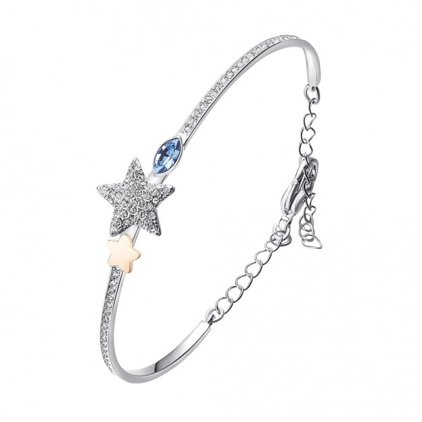 Star-Shaped S925 Sterling Silver Inlaid Crystal Bracelet Valentine's Day Gift