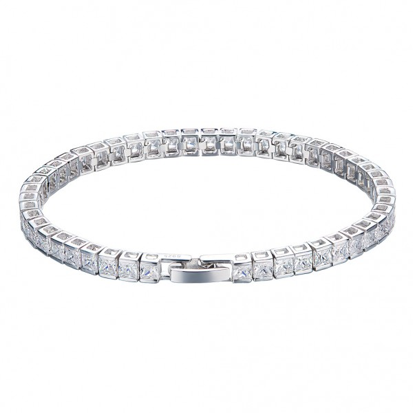 Romantic S925 Sterling Silver Inlaid Cubic Zirconia Bracelet