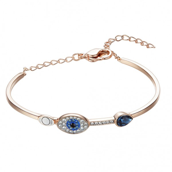 Charming Devil's Eye S925 Sterling Silver Inlaid Crystal Bracelet