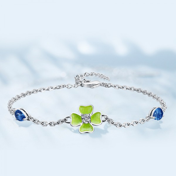 Stylish Four-leaf Clover Shaped S925 Sterling Silver Inlaid Crystal Bracelet