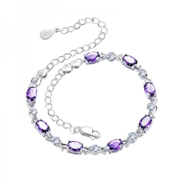 Charming S925 Sterling Silver Inlaid Cubic Zirconia Amethyst Bracelet