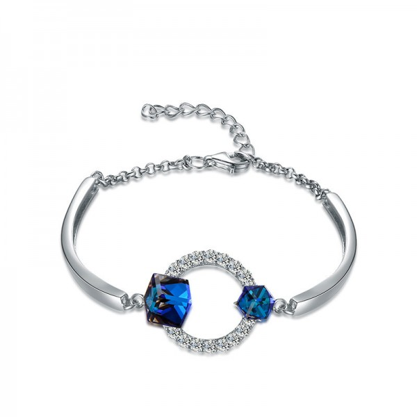 New Arrivals S925 Sterling Silver Inlaid Blue Crystal Bracelet