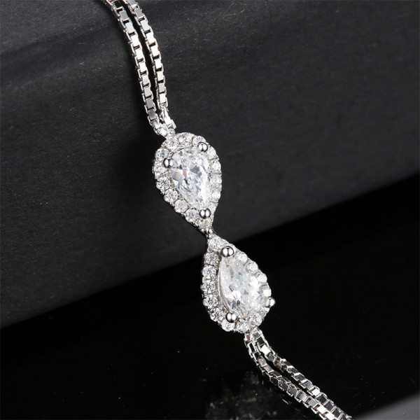 Elegant S925 Sterling Silver Inlaid Cubic Zirconia Bracelet
