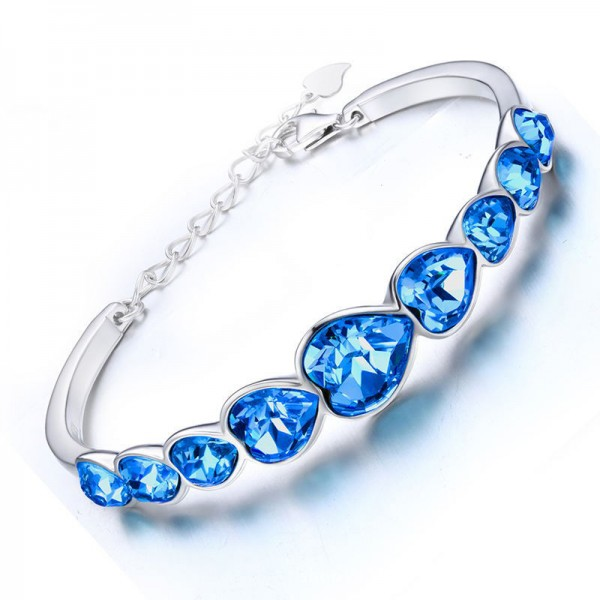 True Love Heart-Shaped S925 Sterling Silver Inlaid Crystal Bracelet