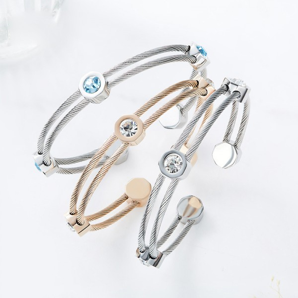 New Arrivals Opening S925 Sterling Silver Inlaid Crystal Bracelet