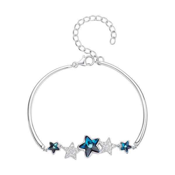 Star-Shaped Charming S925 Sterling Silver Inlaid Crystal Bracelet