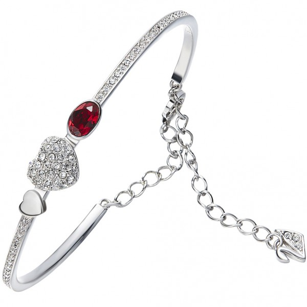 Romantic Heart-Shaped S925 Sterling Silver Inlaid Crystal Bracelet