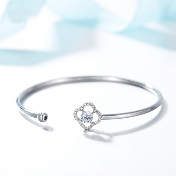 Hollow Flower-Shaped S925 Sterling Silver Inlaid Cubic Zirconia Bracelet