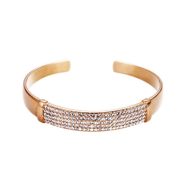 Simple Style Opening S925 Sterling Silver Inlaid Crystal Women Bracelet