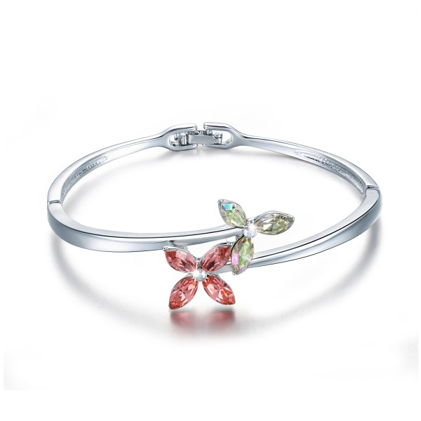 Original Design Four-leaf Clover Shaped Love S925 Sterling Silver Inlaid Crystal Women Bracelet