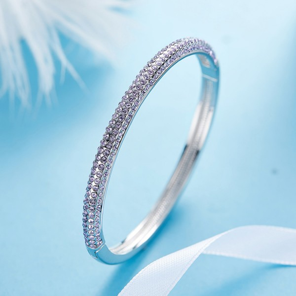 Popular S925 Sterling Silver Inlaid Crystal Bracelet for Love