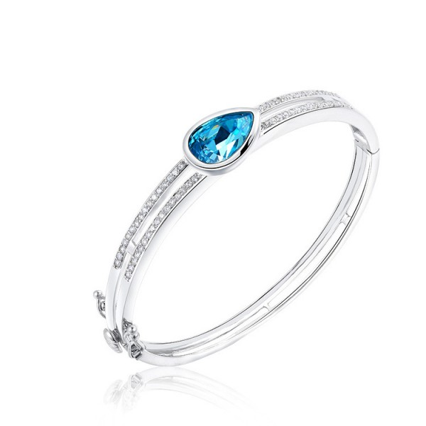 True Love Water Drops-shaped S925 Sterling Silver Inlaid Crystal Bracelet