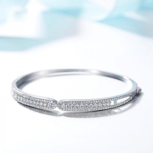 Simple Style Personality S925 Sterling Silver Inlaid Cubic Zirconia Bracelet