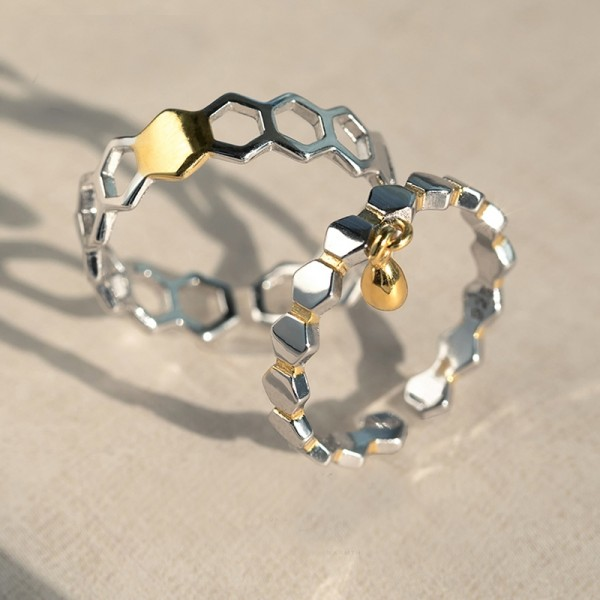 Original Design Honeycomb and Honey Simple Lovers Ring