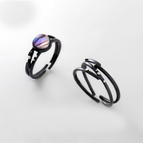 Original Design Star and Galaxy Sterling Silver Abalone Shell Black Couple Rings