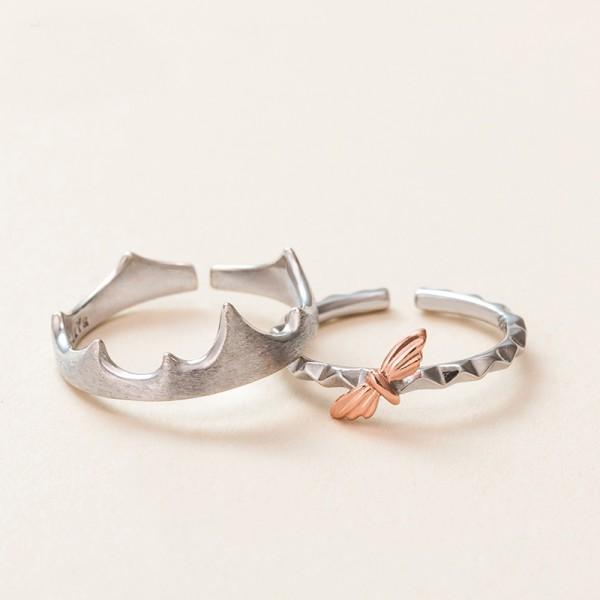 Original Design Crown and Firefly Simple Lovers Ring