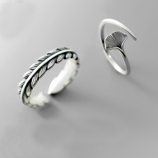 Original Design Apricot leaf and Willow leaf Simple Lovers Ring