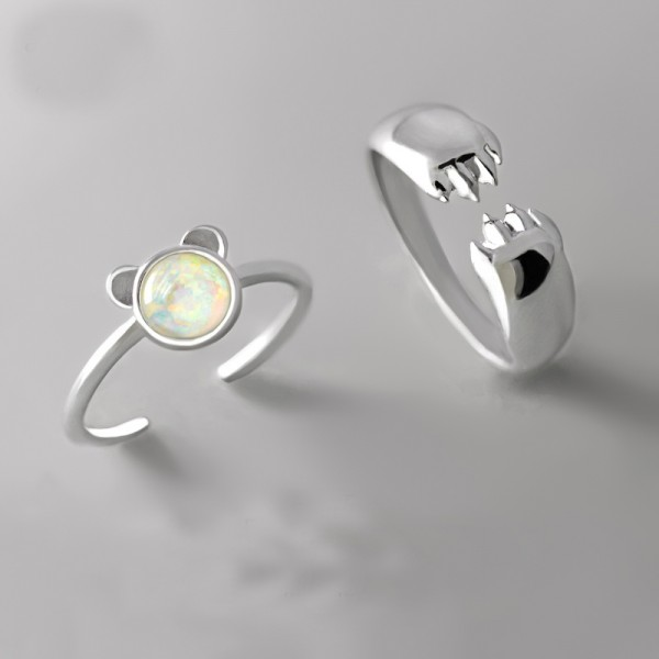 Original Design Panda and Paw Simple Lovers Ring