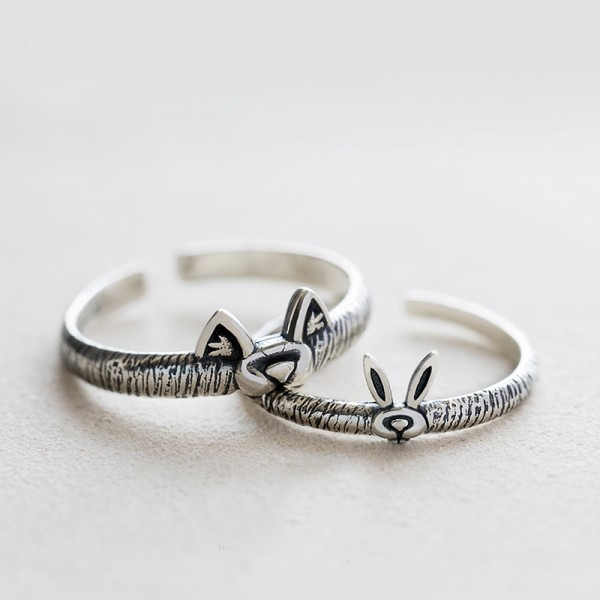 Original Design The Wolf And Rabbit Simple Lovers Ring