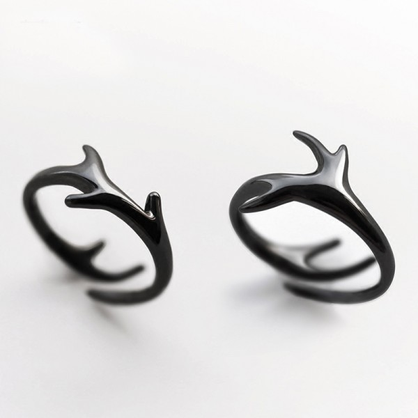 Original Design Deer Antler Black Simple Lovers Ring
