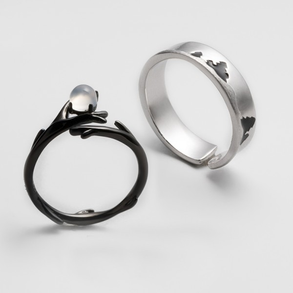 Original Design The Song of Forest and Moon Simple Lovers Ring
