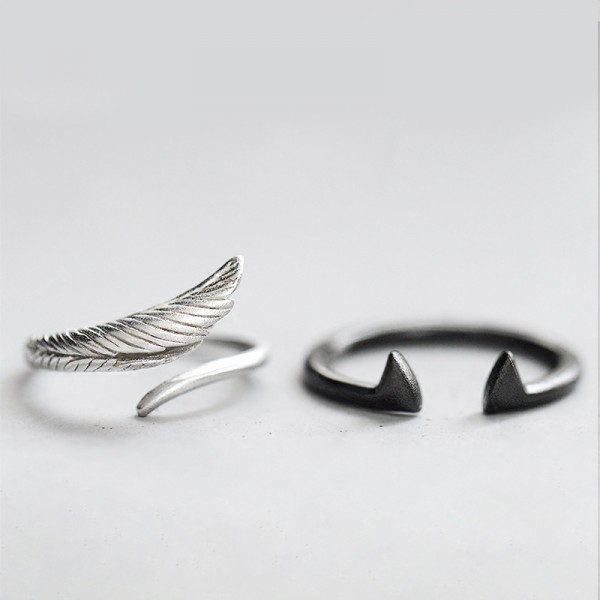 Original Design Angel and Devil Simple Lovers Ring