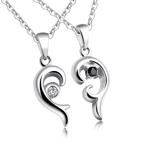 Romantic 3A Zircon Titanium steel Couples Necklace Valentine'S Day Gift