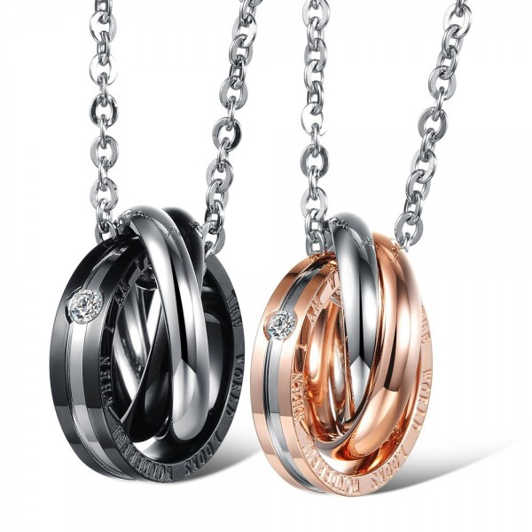 Blacl & Rose Gold 3A Zircon Titanium steel Couples Necklace Valentine'S Day Gift