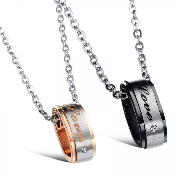 3A Zircon Titanium steel Romantic Couples Necklace Valentine'S Day Gift
