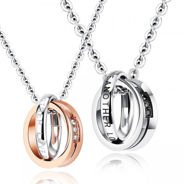 3A Zircon Exquisite Titanium steel Couples Necklace Valentine'S Day Gift