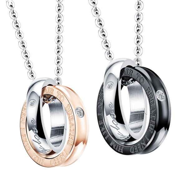 3A Zircon Titanium steel Couples Necklace Exquisite Valentine'S Day Gift