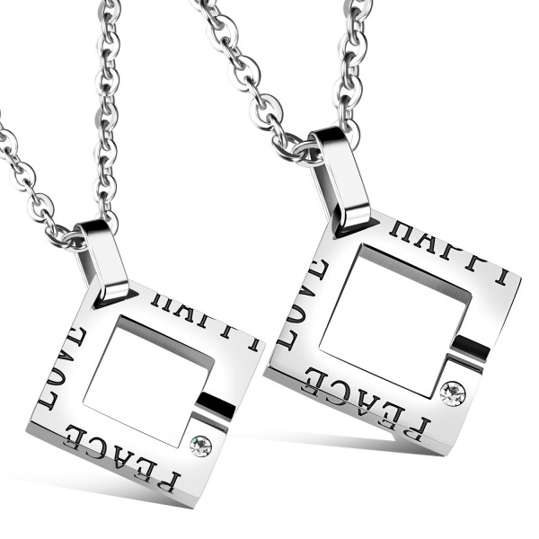 3A Zircon Trendy Titanium steel Couples Necklace Valentine'S Day Gift